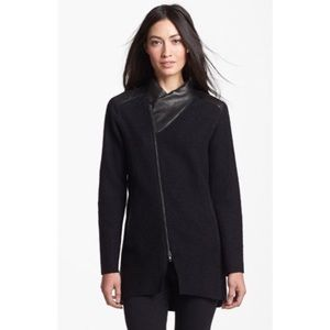 Eileen fisher leather trim boiled wool jacket